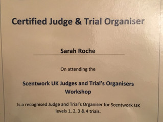 Scentwork UK certifiedJudge and Trial organisers!