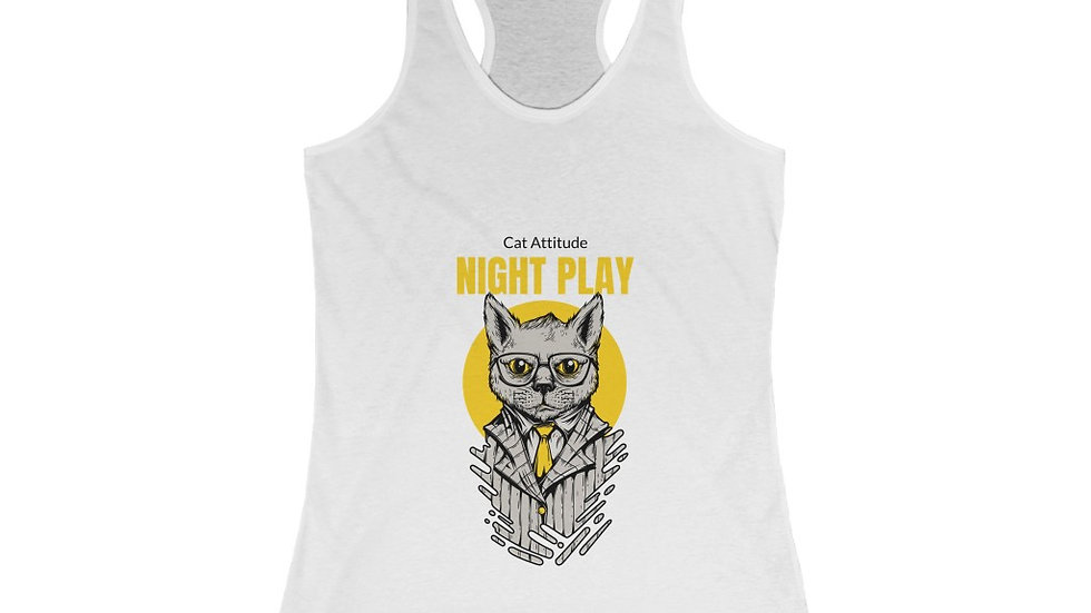 Cat Attitude Night Play Women's Ideal Racerback Tank