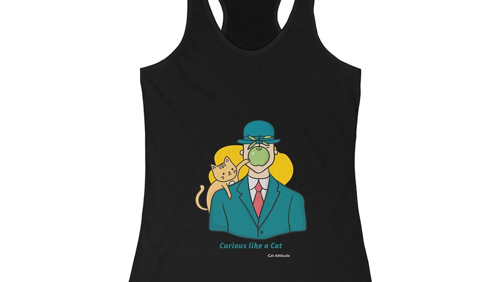 Curious Like a Cat Women's Ideal Racerback Tank cat Attitude Collection