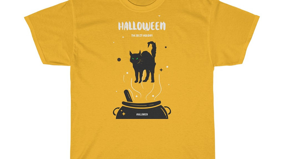 Unisex Heavy Cotton Tee Haloween Cat