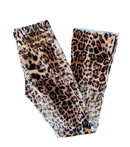 WASHED CORD LEOPARD PANTS