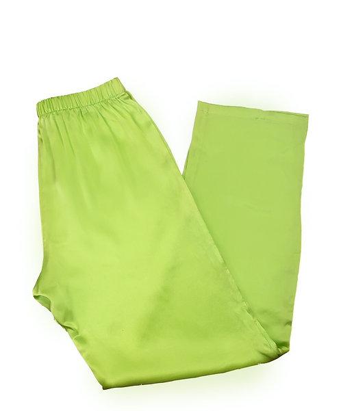 GREEN SILK PAJAMA PANTS