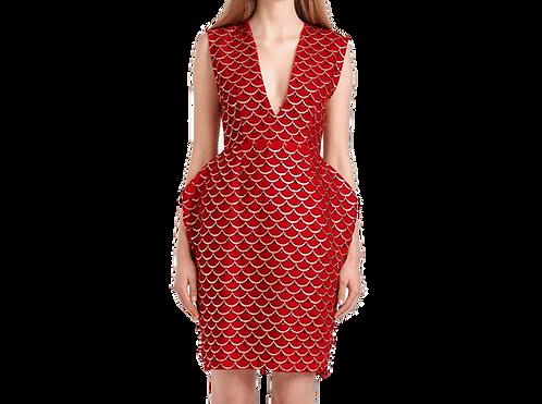 RED SILK VELVET MID LENGHT DRESS
