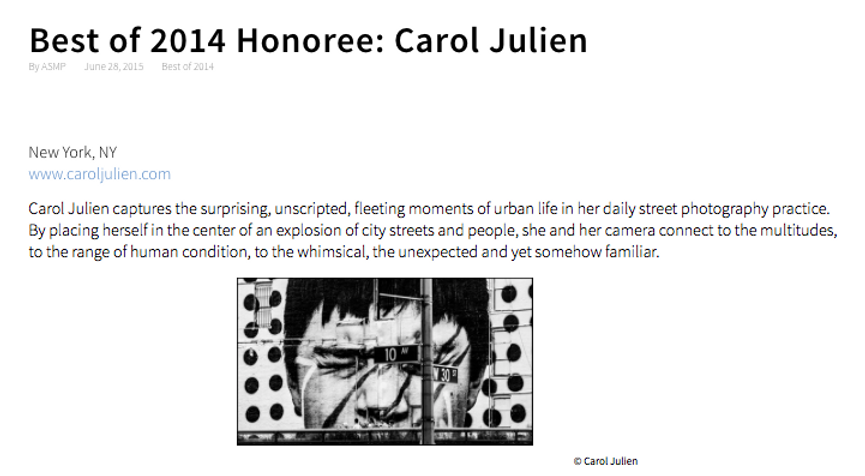 Carol Julien ASMP Best of 2014 Honoree .
