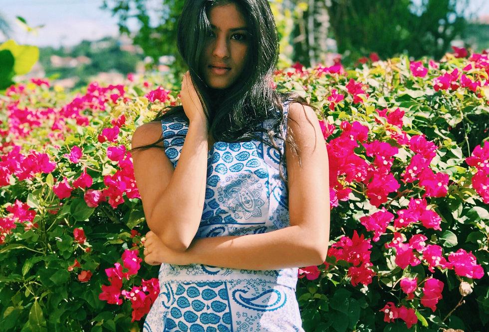 Hope Sews ethical fashion blue paisley co-ord set