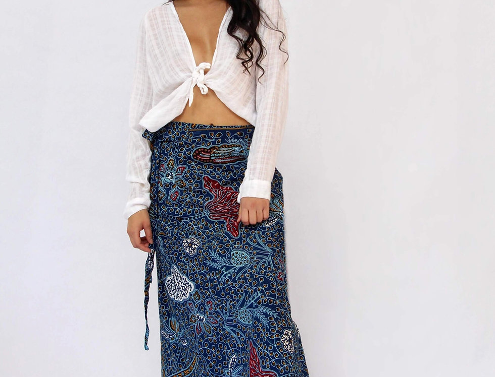 Hope Sews ethical fashion blue print maxi skirt