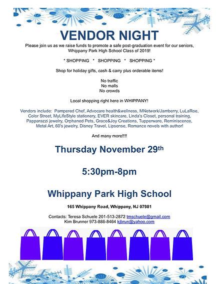 PG2018 vendor night flyer for  SHOPPERS!