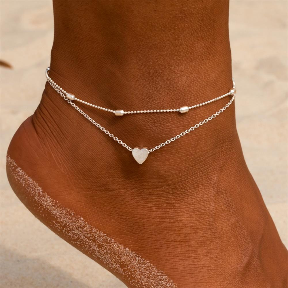 Edary Beach Heart Anklet Simple Ankle Bracelet Fashion Foot Jewelry for Women and Girls Silver