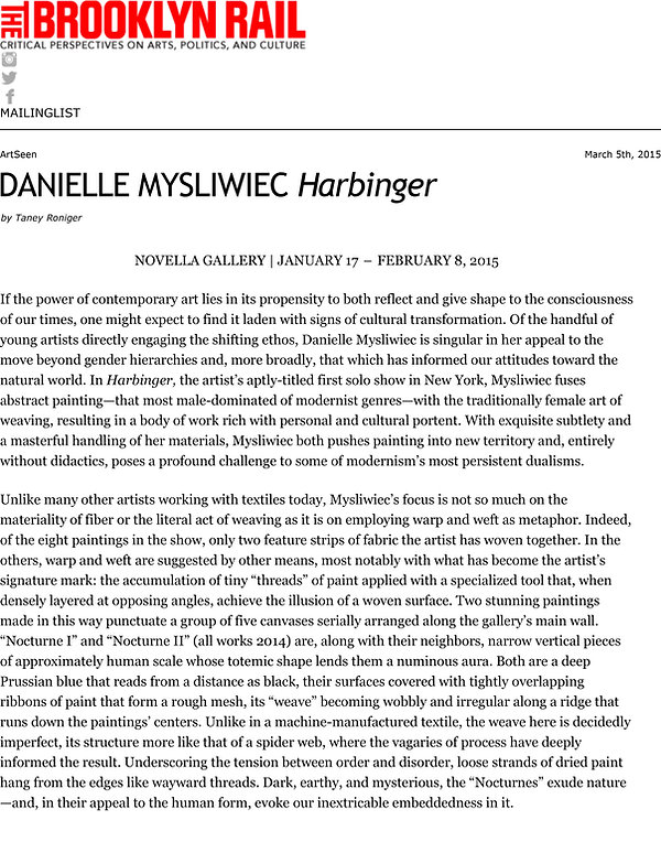 DANIELLE MYSLIWIEC Harbinger | The Brook