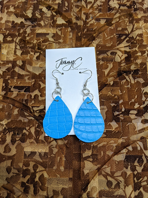 Aqua Alligator Earrings