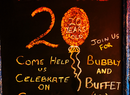 We Are 20 Years Old, Come Celebrate Buffet & Bubbly