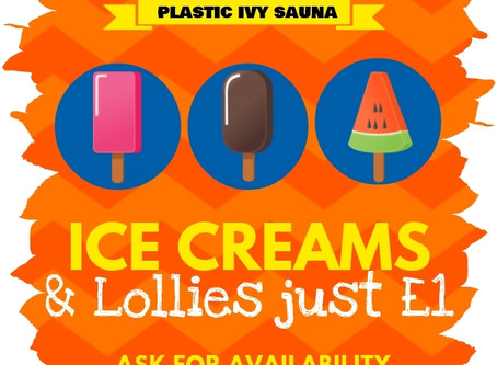 Cool Down and Keep refreshed with our summer Ice Creams & lollies, only £1