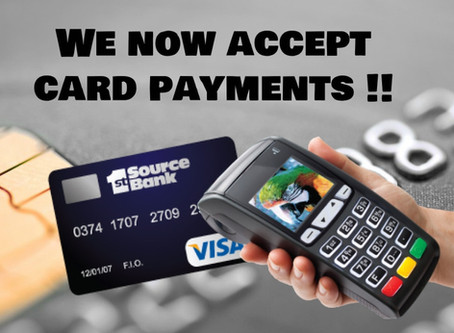 We Now Accept Card Payments