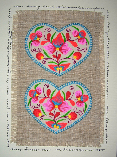 Embroidered Double Heart on Natural Linen