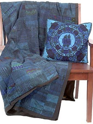 """Hand Embroidered """"Huipule"""" Quilt in Blue or Rust"""