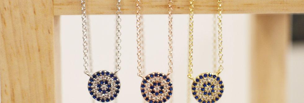 Necklace - Santorini Evil Eye in Sterling Silver, Rose Gold & Gold