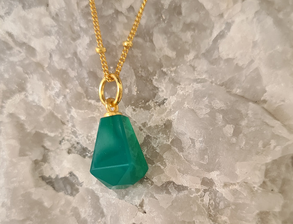 Necklace -  Gold Green Onyx