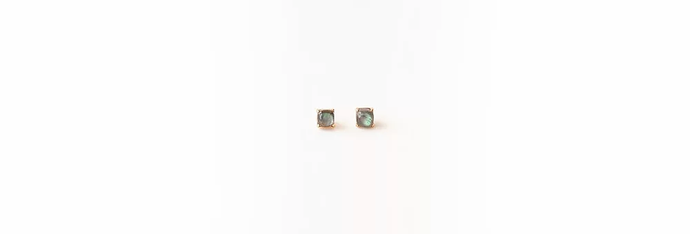 Earrings - Labradorite Rose Gold Studs