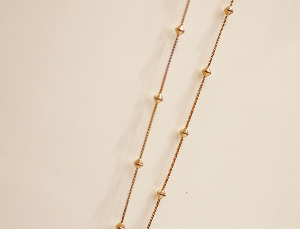 Necklace - Angel Beaded Long in Rose Gold