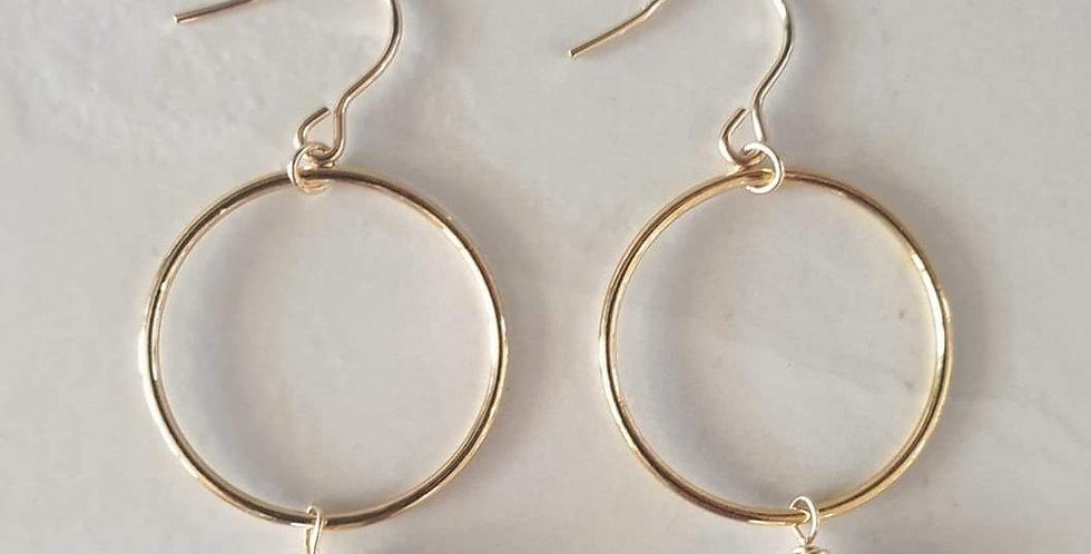 Earrings - Freshwater Hoops in Gold