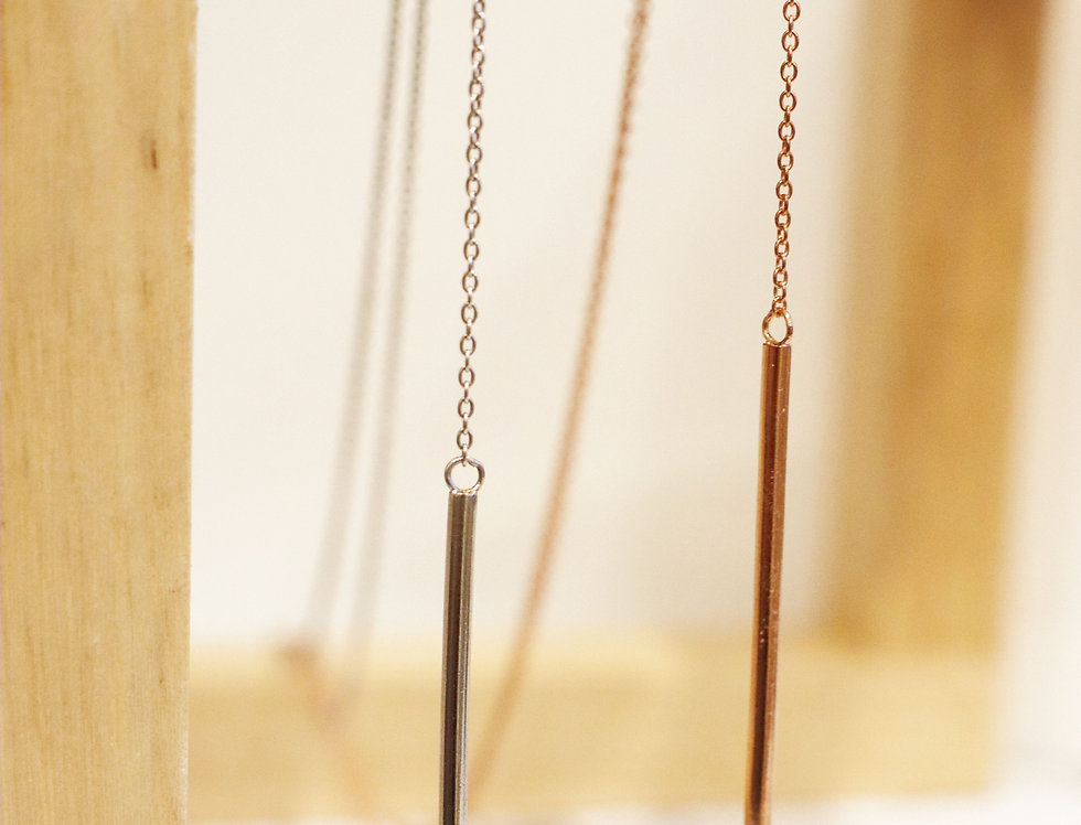 Necklace - Chelsea Drop Bar in Sterling Silver & Rose Gold
