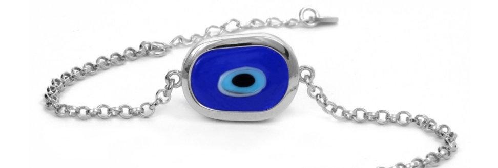 Large Evil Eye Bracelet - sterling silver