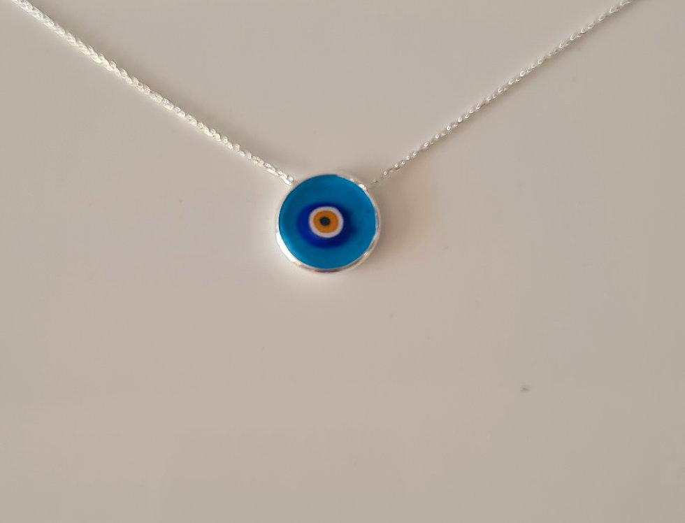 Transparent  Evil Eye Necklace - sterling silver