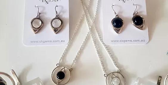Gemstone Set - Black Onyx Necklace, Earrings & Adjustable Bangle