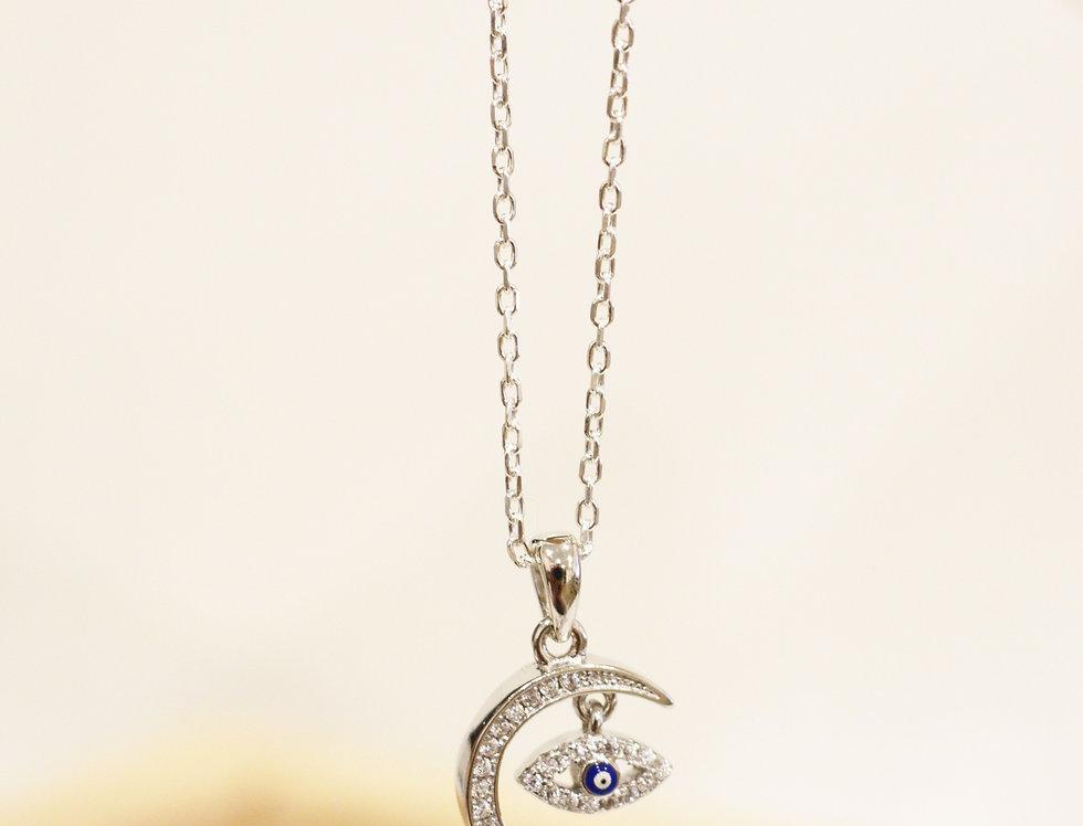 Necklace - Horseshoe & Evil Eye in Sterling Silver