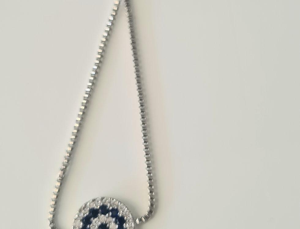 Adjustable Evil Eye Bracelet - sterling Silver