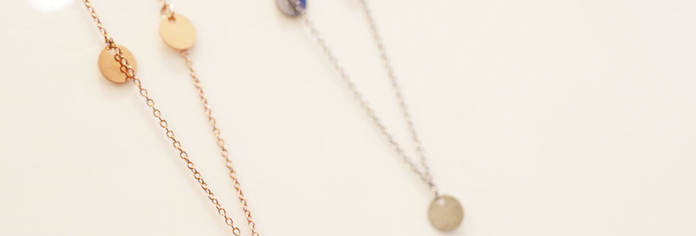 Necklace - Heidi Multi Disc in Sterling Silver & Rose Gold