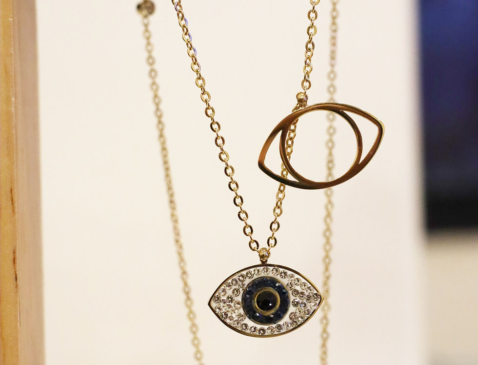 Necklace - Double Luck Evil Eye in Gold