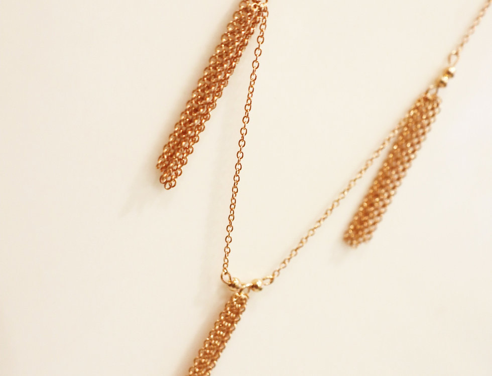 Necklace - Tassels in Rose Gold