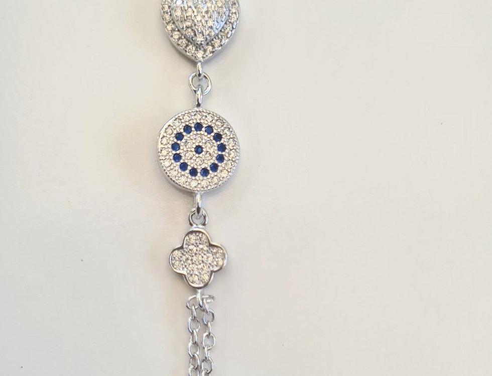 Bracelet - Heart/Eye/Clover in Sterling Silver