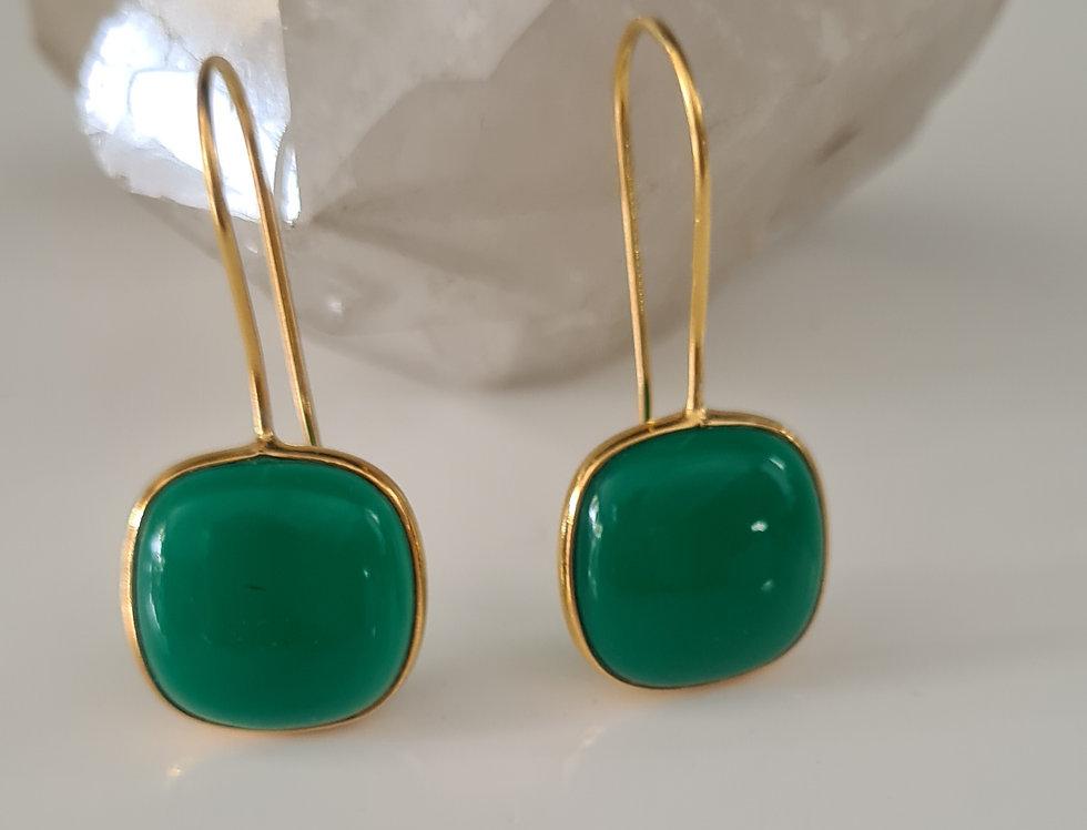 Drop Earrings - Green Onyx Gold Power