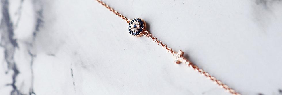 Bracelet - Evil Eye and Cross in Sterling Silver & Rose Gold