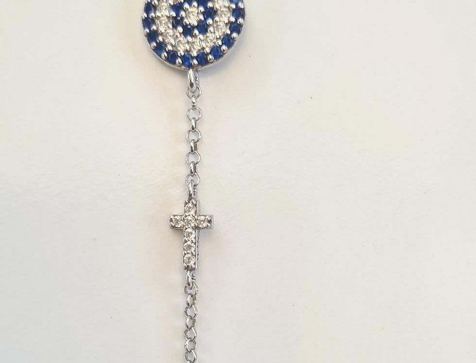 Bracelet - Large evil eye & cross in sterling silver