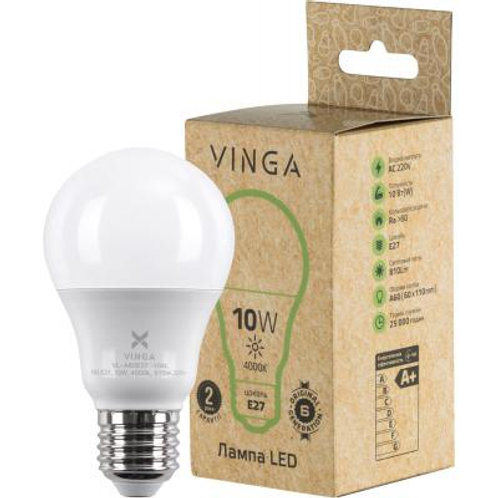 Лампочка(LED), Е27, 10 Вт, 4000 К (нейтральный белый)Vinga VL-A60E27-104L