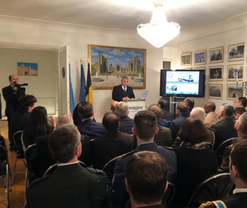H.E. Dilyor Khakimov, Ambassador of Uzbekistan to the Benelux countries, celebrating the 28th Anniversary of the Armed Forces of the Republic of Uzbekistan