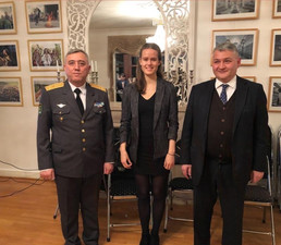 Daniela Deken with H.E. Dilyor Khakimov, Ambassador to the Benelux countries with military attache in the Embassy of Uzbekistan in Brussels
