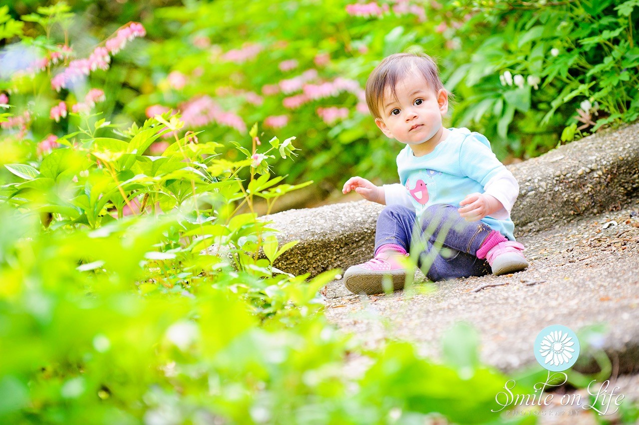 Toddler sitting in gardens
