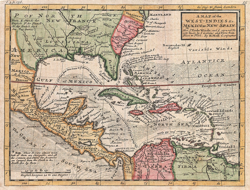 A Map of the West-Indies & c. Mexico or New Spain, Herman Moll, c.1732
