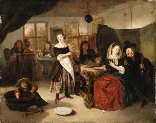 A Merry Company in a Tavern - Richard Brackenburgh, c1676