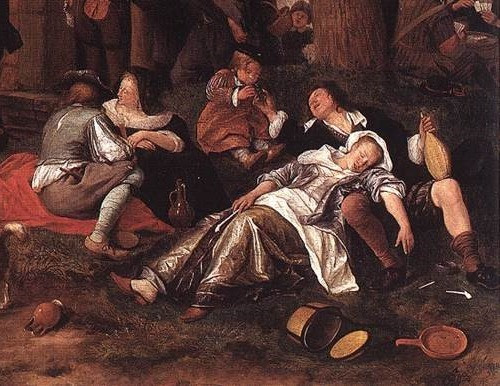 Detail from Jan Steen, Leaving the Tavern, c1660