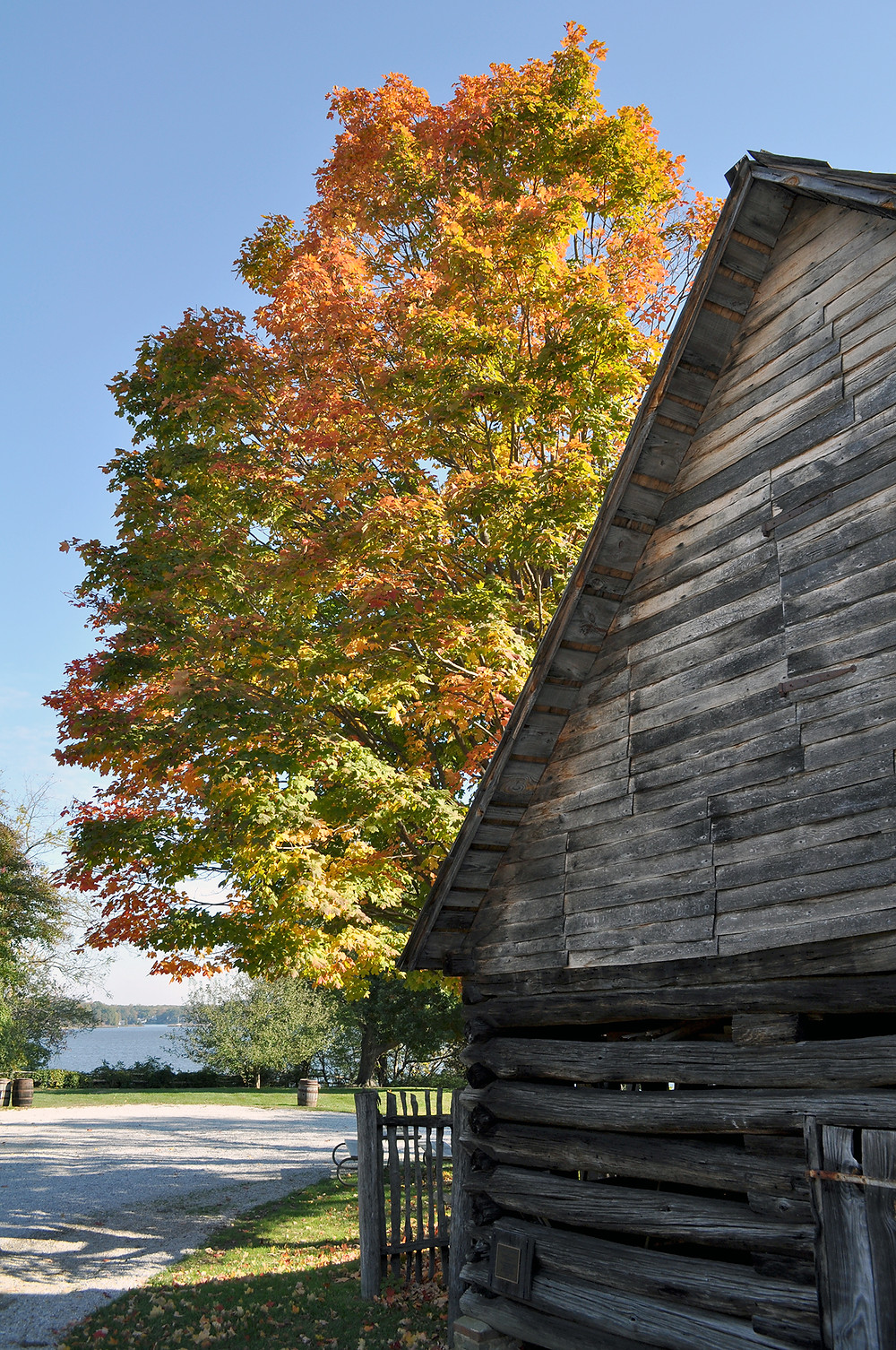 Tobacco Barn at London Town in the fall