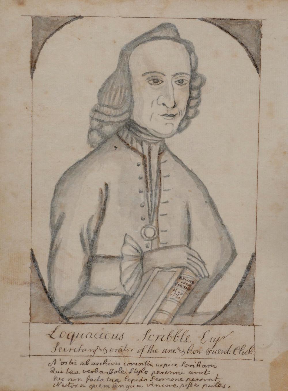 Caricature of Annapolis-based doctor Alexander Hamilton.