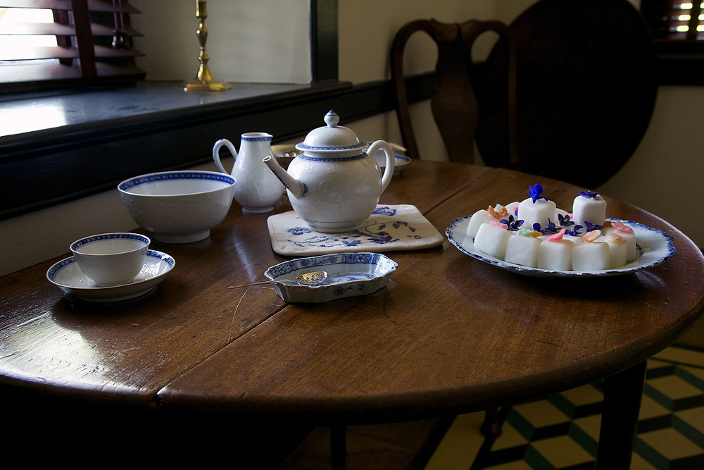 Tea set on a table in the William Brown House