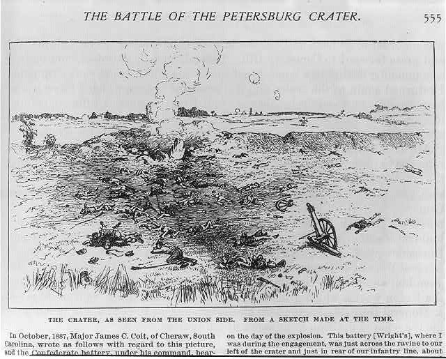 Newspaper print depicting the Battle of the Petersburg Crater