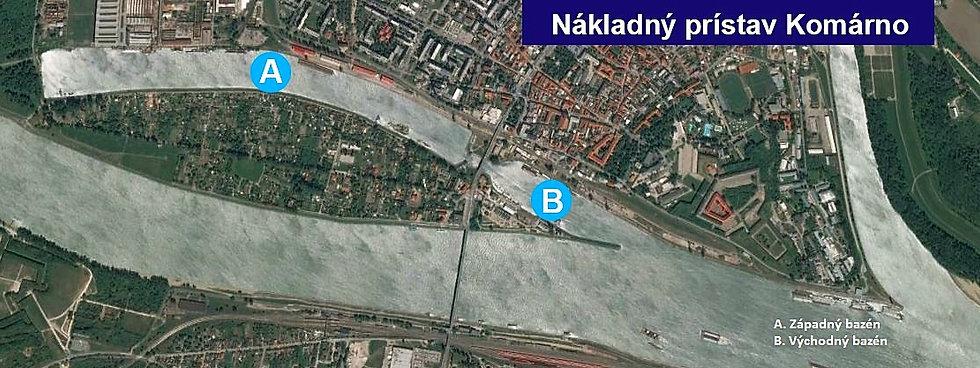 Komárno nákladný prístav mapa pohľad zho