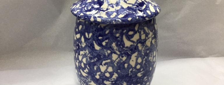 Medium  Lidded Jar (Blue Sponge)